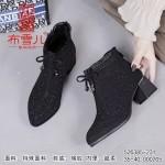 526385-231 黑色 时装优雅粗跟女短靴【超柔】