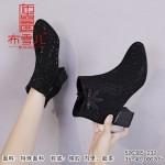 526385-232 黑色 时装优雅粗跟女短靴【超柔】